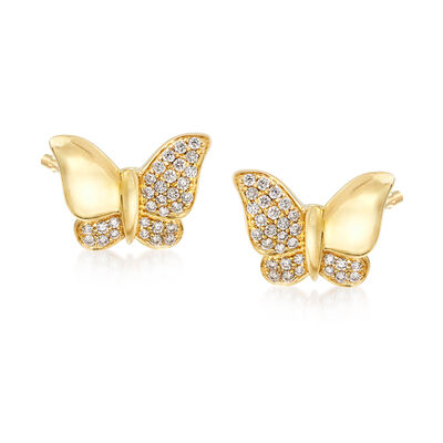 .30 ct. t.w. Diamond Butterfly Earrings in 14kt Yellow Gold