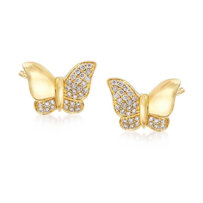 .30 ct. t.w. Diamond Butterfly Earrings in 14kt Yellow Gold