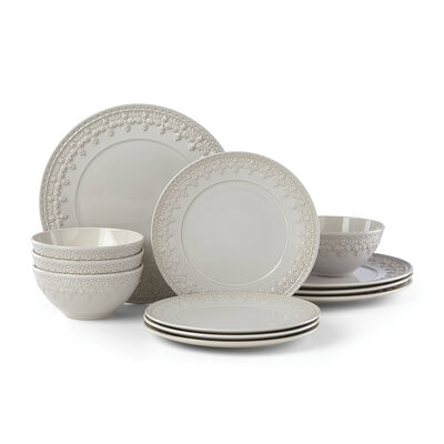 "Lenox ""Chelse Muse"" Fleur Gray Ironstone Dinnerware Set, , default"