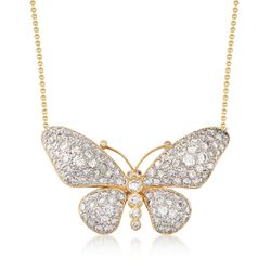 "C. 1980 Vintage 4.50 ct. t.w. Diamond Butterfly Necklace in 14kt and 18kt Yellow Gold. 17"", , default"