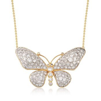 """C. 1980 Vintage 4.50 ct. t.w. Diamond Butterfly Necklace in 14kt and 18kt Yellow Gold. 17"""", , default"""