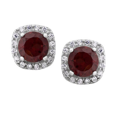 1.12 ct. t.w. Garnet and .16 ct. t.w. CZ Halo Earrings in Sterling Silver