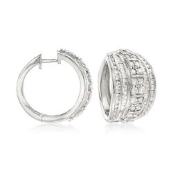 "3.00 ct. t.w. Channel-Set Diamond Hoop Earrings in Sterling Silver. 3/4"", , default"