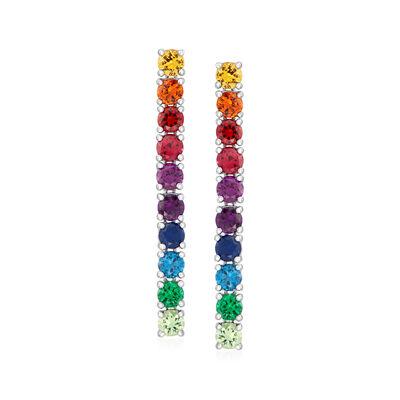4.60 ct. t.w. Multicolored CZ Linear Drop Earrings in Sterling Silver
