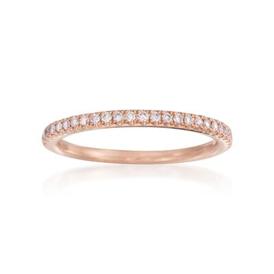 Henri Daussi .15 ct. t.w. Pave Diamond Wedding Ring in 18kt Rose Gold, , default