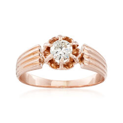 C. 1960 Vintage .33 Carat Diamond Solitaire Ring in 14kt Rose Gold, , default