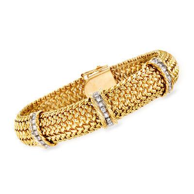 C. 1980 Vintage .45 ct. t.w. Diamond Station Bracelet in 14kt Yellow Gold