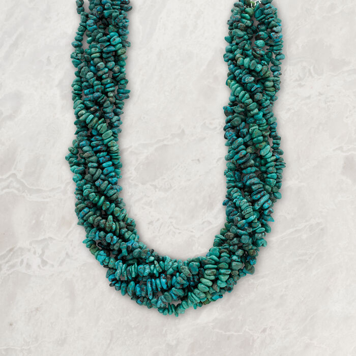 Turquoise Torsade Necklace in Sterling Silver