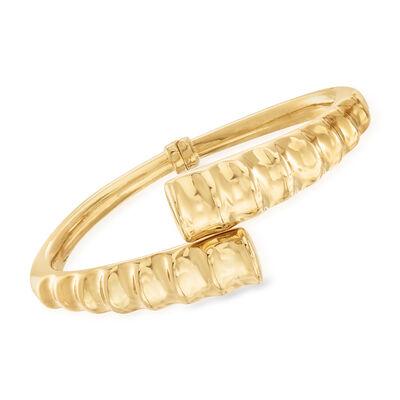 Italian 18kt Gold Over Sterling Ribbed Bypass Bangle Bracelet, , default