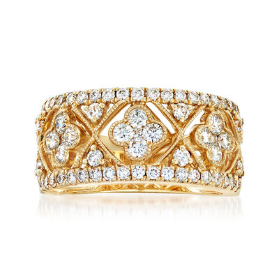 C. 1990 Vintage 1.00 ct. t.w. Diamond Floral-Inspired Ring in 14kt Yellow Gold, , default