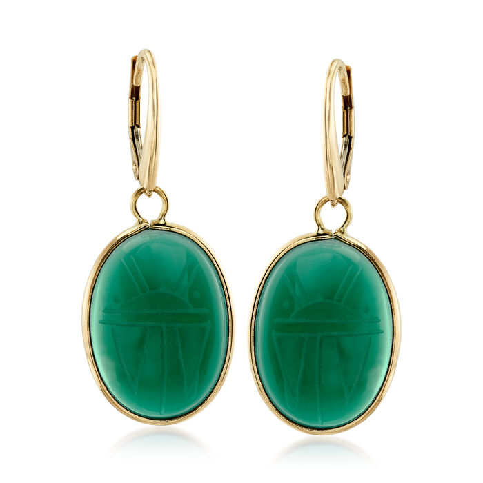 Green Chalcedony Scarab Drop Earrings in 14kt Yellow Gold