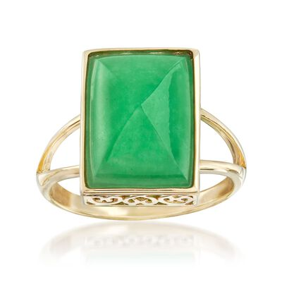 Jade Cabochon Ring in 14kt Yellow Gold, , default