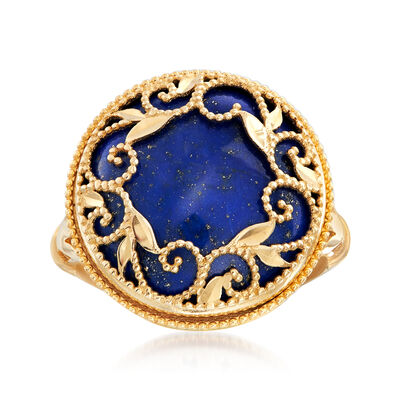 Italian Lapis Filigree Ring in 14kt Yellow Gold, , default