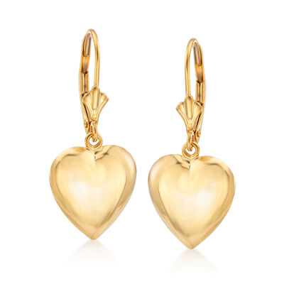 14kt Yellow Gold Puffed Heart Drop Earrings