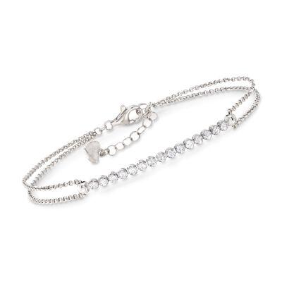 .50 ct. t.w. CZ Row Bracelet in Sterling Silver, , default