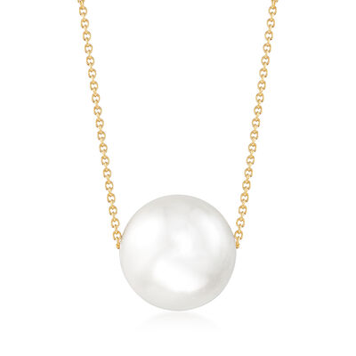16mm Shell Pearl Solitaire Necklace in 18kt Gold Over Sterling