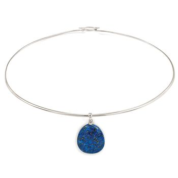 "Lapis Drop Pendant Collar Necklace in Sterling Silver. 16"", , default"