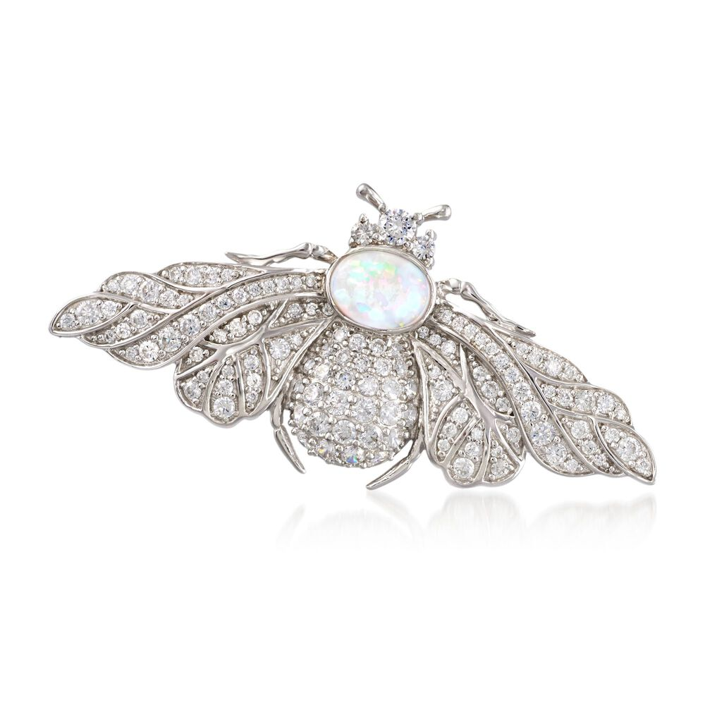 ceba23538 Opal and 2.03 ct. t.w. CZ Bee Pin in Sterling Silver | Ross-Simons