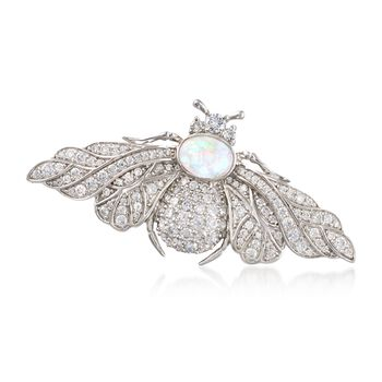 Opal and 2.03 ct. t.w. CZ Bee Pin in Sterling Silver , , default