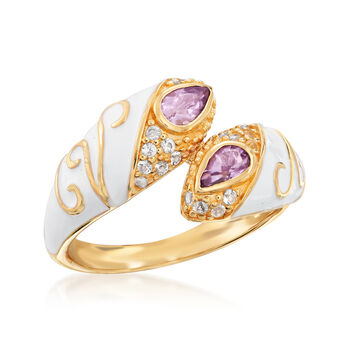 .80 ct. t.w. Amethyst and .10 ct. t.w. White Topaz Bypass Ring in 18kt Gold Over Sterling
