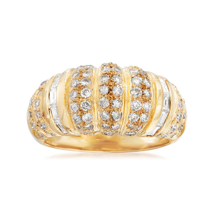 C. 1990 Vintage 1.60 ct. t.w. Round and Baguette Diamond Ring in 18kt Yellow Gold