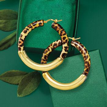 "Italian Leopard-Print Enamel and 18kt Gold Over Sterling Hoop Earrings. 1 3/4"""