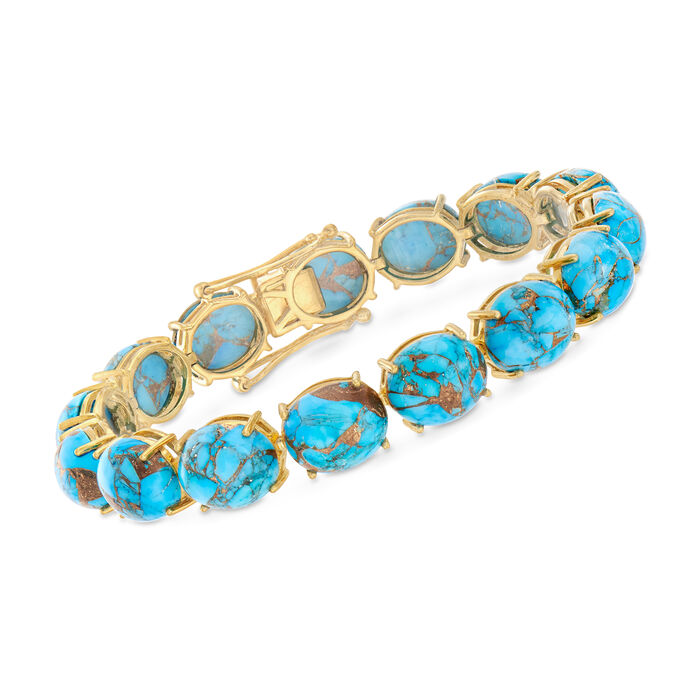 12x10mm Stabilized Mohave Turquoise Cabochon Bracelet in 18kt Gold Over Sterling, , default