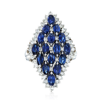 C. 1980 Vintage 3.53 ct. t.w. Sapphire and .90 ct. t.w. Diamond Cluster Ring in Platinum, , default
