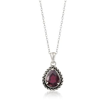 "1.70 Carat Garnet Woven Pendant Necklace in Sterling Silver. 18"", , default"