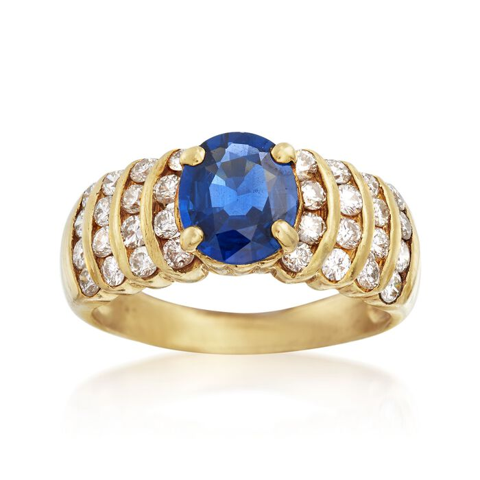 C. 1990 Vintage 1.55 Carat Sapphire and .85 ct. t.w. Diamond Ring in 18kt Yellow Gold. Size 6.5