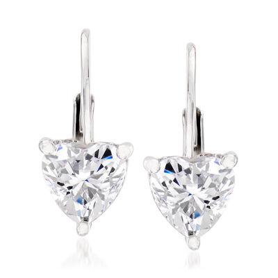 1.02 ct. t.w. CZ Heart Earrings in Sterling Silver, , default