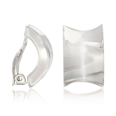 "Zina Sterling Silver ""Contemporary"" Concave Half-Hoop Clip-On Earrings, , default"