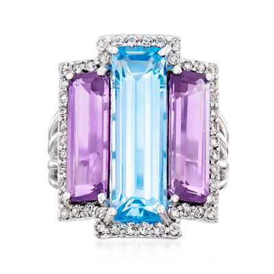 6.75 Carat Sky Blue Topaz and 5.00 ct. t.w. Amethyst Ring with .80 ct. t.w. White Topaz in Sterling Silver