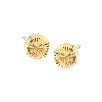 18kt Yellow Gold Diamond-Cut Dome Stud Earrings, , default