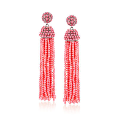 Pink Coral Bead Tassel Earrings in Sterling Silver, , default