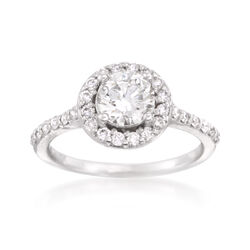 1.37 ct. t.w. Diamond Halo Ring in 14kt White Gold, , default