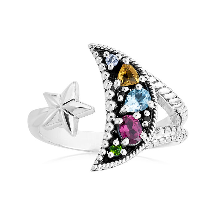 .45 ct. t.w. Multi-Gemstone Moon and Star Bypass Ring in Sterling Silver, , default