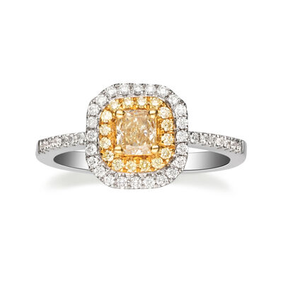 .76 ct. t.w. Yellow and White Diamond Ring in 14kt Two-Tone Gold