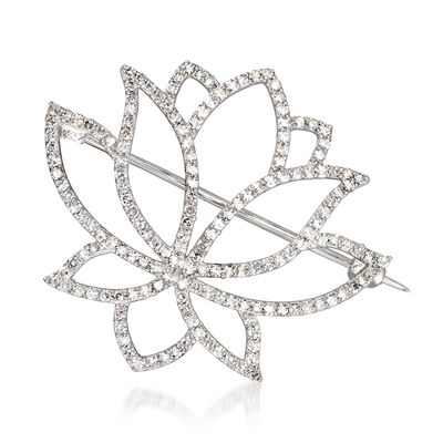 1.06 ct. t.w. Diamond Lotus Flower Pin in 14kt White Gold, , default