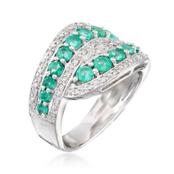 .90 ct. t.w. Emerald and .18 ct. t.w. Diamond Twist Ring in Sterling Silver, , default