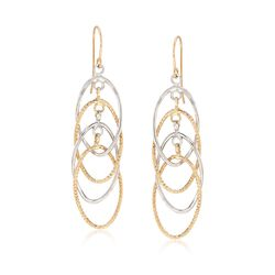 14kt Two-Tone Gold Textured and Polished Interlocking Oval Drop Earrings, , default