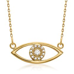 "14kt Yellow Gold Evil Eye Necklace in 14kt Yellow Gold. 18.75"", , default"