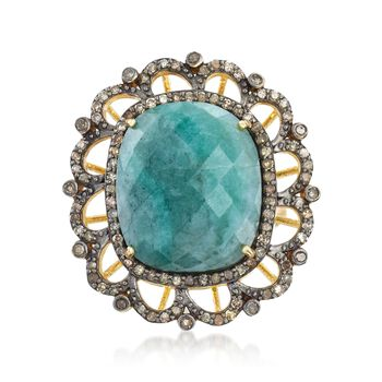 12.00 Carat Opaque Emerald and .83 ct. t.w. Champagne Diamond Ring in 18kt Gold Over Sterling, , default
