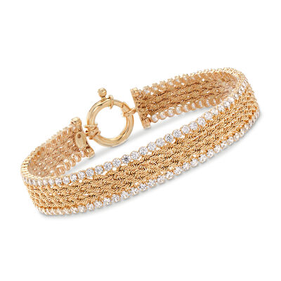 Italian 4.00 ct. t.w. CZ Multi-Row Rope Chain Bracelet in 14kt Yellow Gold, , default