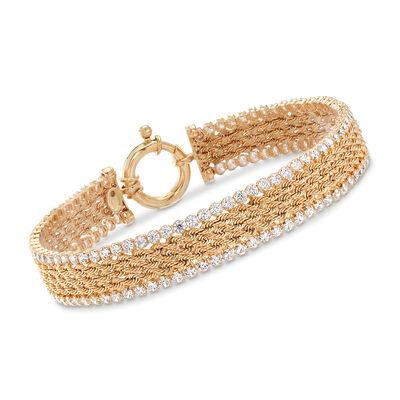 Italian 4.00 ct. t.w. CZ Multi-Row Rope Chain Bracelet in 14kt Yellow Gold, , default
