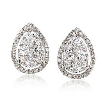 C. 2000 Vintage .80 ct. t.w. Diamond Teardrop Earrings in 18kt White Gold, , default