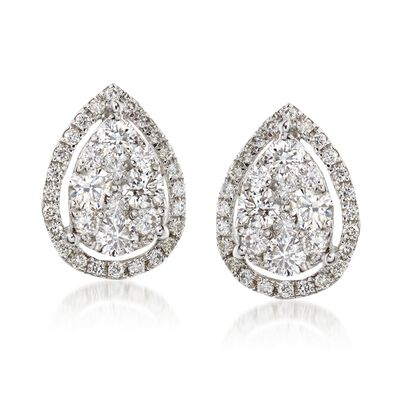 C. 2000 Vintage .80 ct. t.w. Diamond Teardrop Earrings in 18kt White Gold, , default