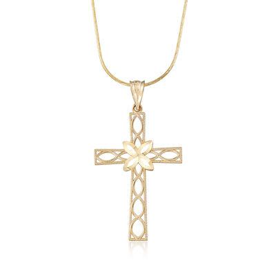14kt Yellow Gold Diamond-Cut Openwork Cross Pendant Necklace , , default