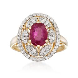 1.50 Carat Ruby and .50 ct. t.w. Diamond Ring in 14kt Yellow Gold, , default
