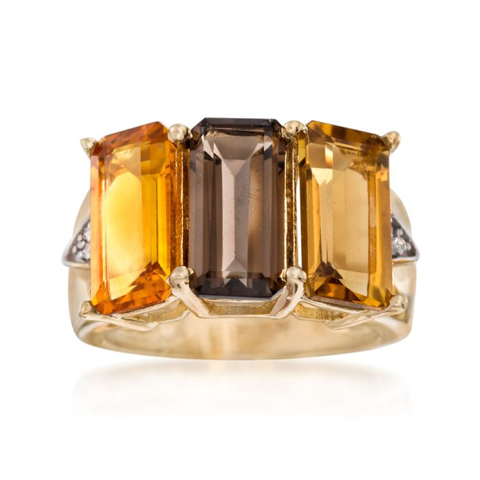 7.90 ct. t.w. Multi-Stone Ring with White Topaz Accents in 14kt Gold Over Sterling